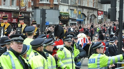 Protesting Thatcher's Funeral