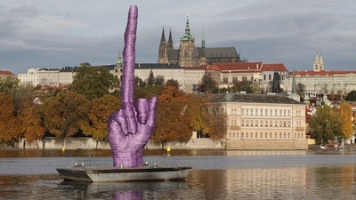 "Artist David Cerney's Giant Purple ""Screw You"" to the Czech President"