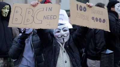 Anonymous Spent Saturday Shouting at the BBC in London