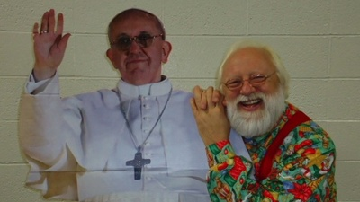 Here Are Some Great Photos of People Posing Next to a Cardboard Cutout of the Pope