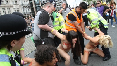 Femen Protested at the Tour de France in London Yesterday