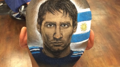 This Guy Shaves Lionel Messi's Face into the Hair of World Cup Fans