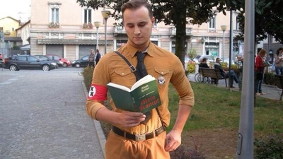 An Italian Dressed as a Nazi from 'Blues Brothers' to Protest Against Homophobes