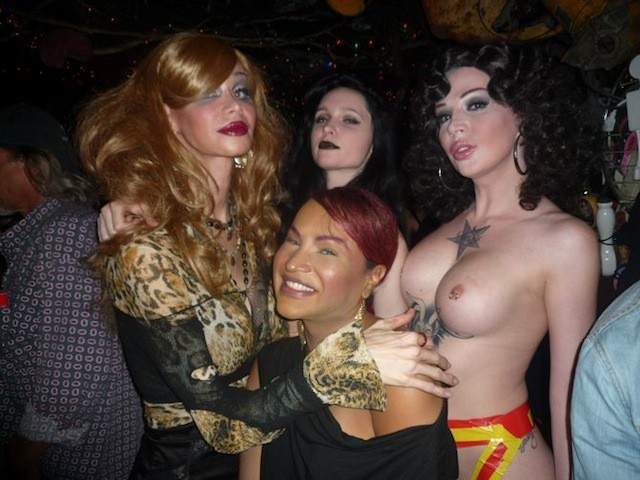 Three trannies and a real girl, Dana, whose hot punk band Dentata performed at the party.