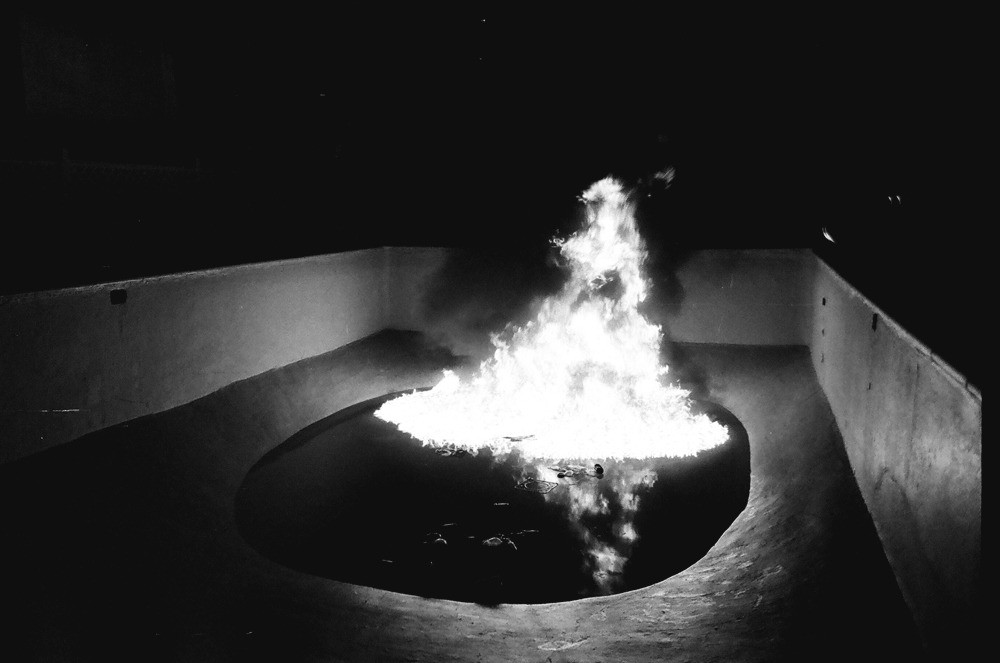 The burning of the pool became a go-to for partying on our night off. The ritual ended once our neighbours called the firemen and the city gave us a huge fine. Then we turned the pool into a skate park.