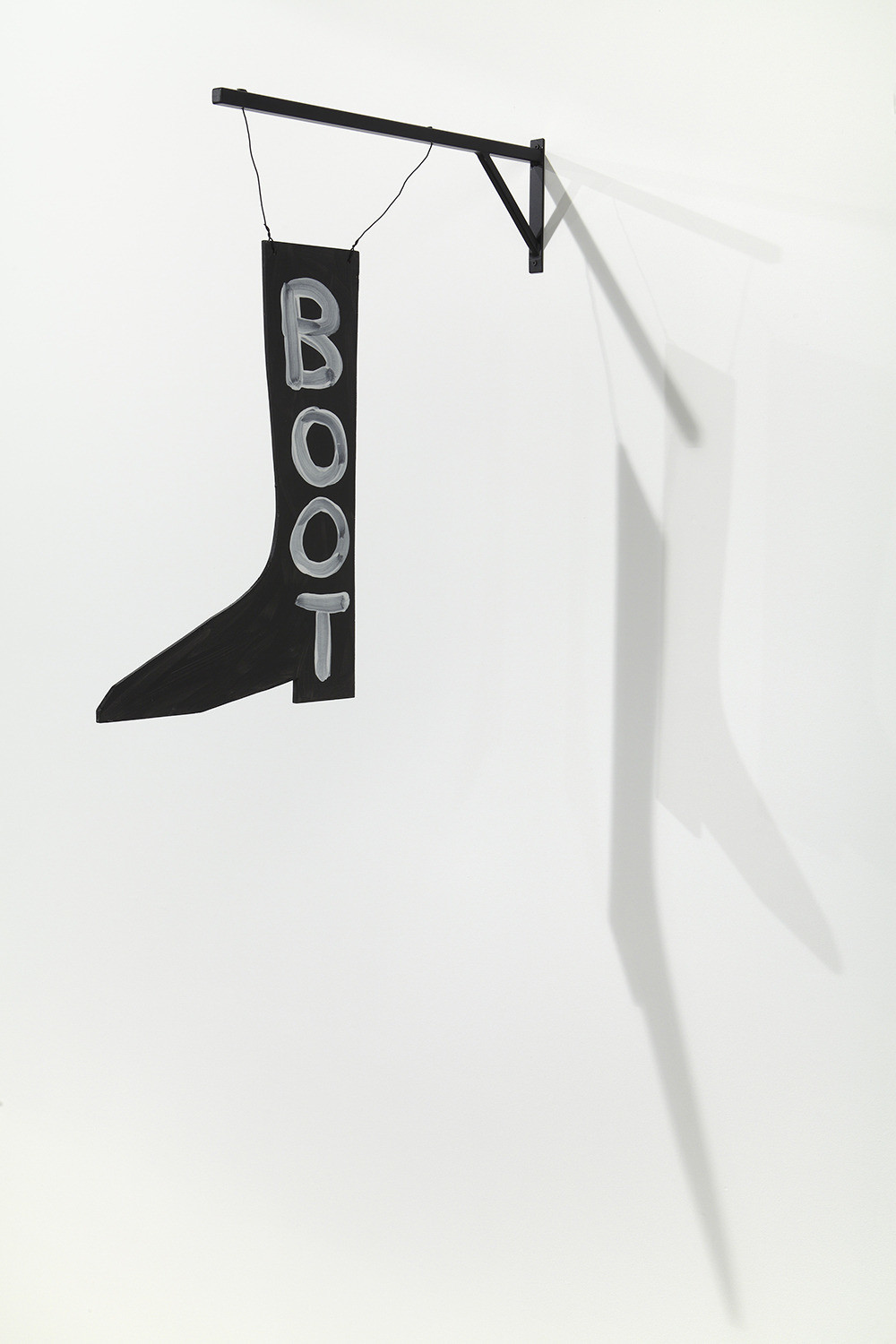 David Shrigley, Boot, 2012, Acrylic on plywood with steel armature 23 3/4 x 16 1/4 x 1/4 inches (sign), Courtesy Anton Kern Gallery, New York
