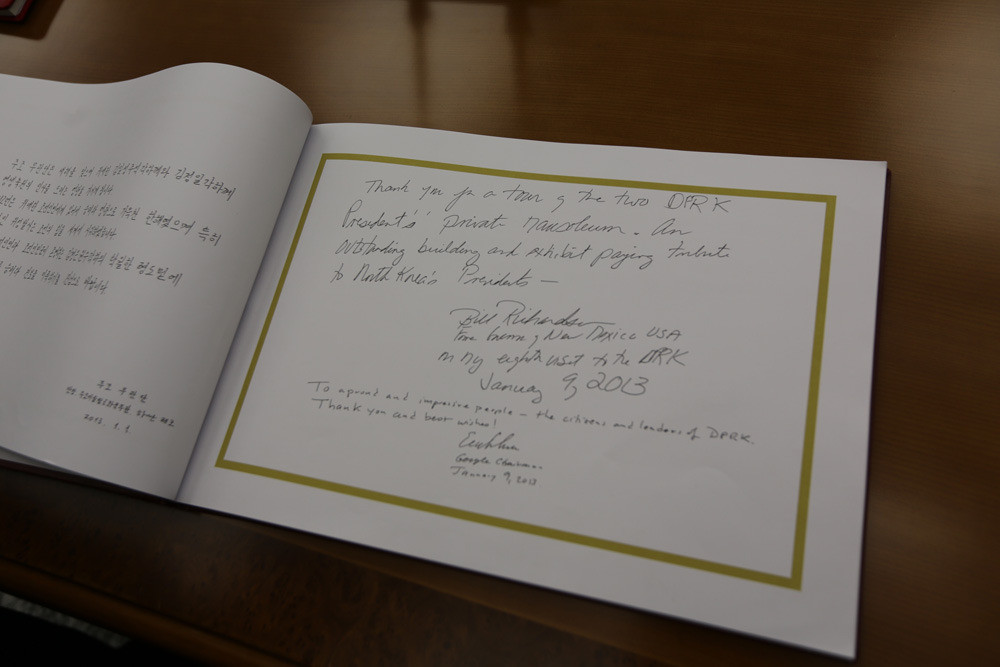 Comments from Bill Richardson and Google's Eric Schmidt in the guest book at Kumsusan Palace.