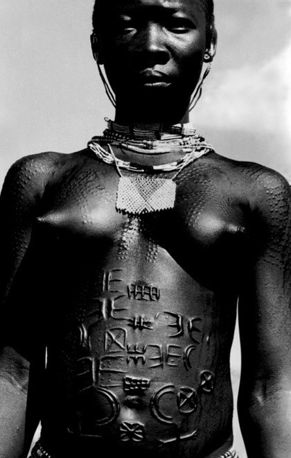 Scarification - Young woman. Nuba Mountains, Southern Sudan.