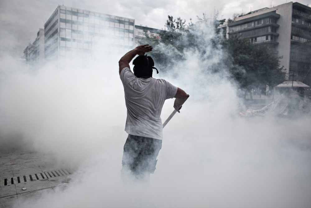 Most citizens strongly oppose austerity measures and keep demonstrating in Athens and in large cities. Police brutality and the extended use of tear gas leads to health issues.