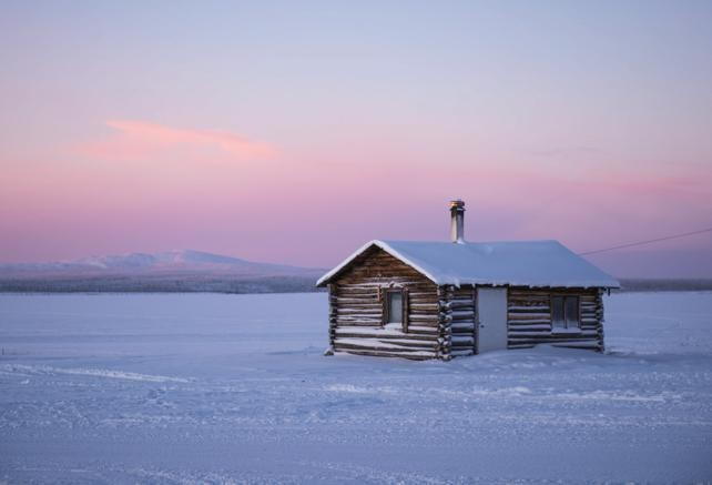 A trapper's cabin sits on the shore of Colville Lake, NWT.