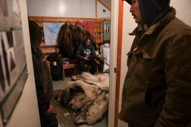 Francois Rossoouw, manager of fur harvesting and traditional economy with the GNWT, checks pelts for quality.