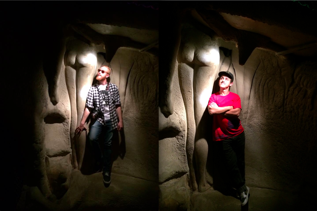 Bill and Ed enjoying long-legged ladies in the basement caves of the St. Louis City Museum