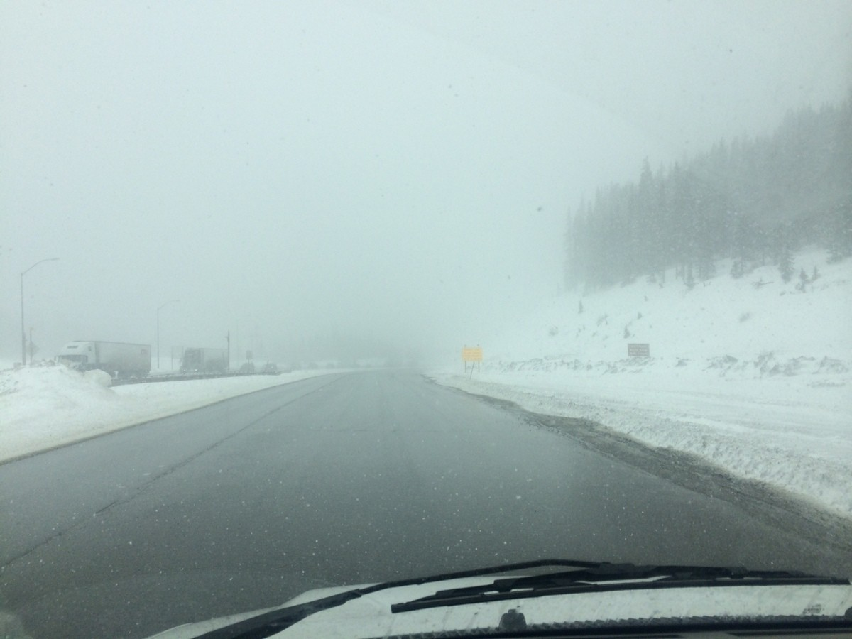 The horizon once again disappearing into a blizzard as we descended through Denver's Rocky Mountains