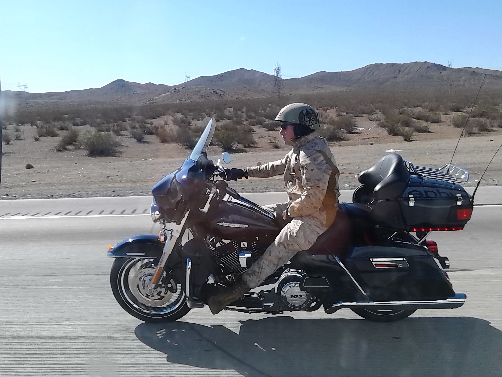 We paced this biker all afternoon to get a photo of his camo and helmet.